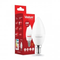 Лампа LED C37 6W 3000K 220V E14
